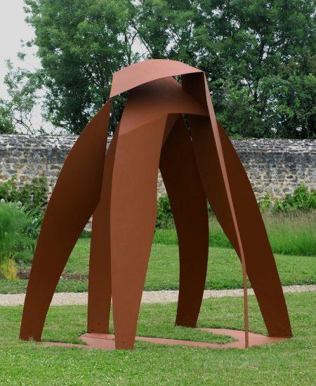 MOSCOVINO Jean-Paul INTER-CEPTION 270 X 210 X 270 cm H ocre rouge sur aluminium